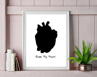 Cross My Heart Print / Anatomical heart / Silhouette / Poster / Emo / Gothic / Dark Side / Black and white / Wall Art / A3 / A4.