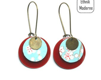 Light blue and Red Japanese paper flower earrings