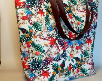 Cotton canvas bag with leather handles, tropical fantasy, handmade in Italy.
