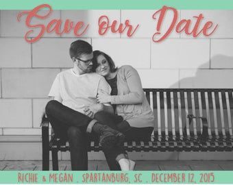 Border Save the Date, Customizable, Digital or Printed