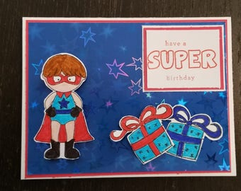 Super hero birthday card, Super kid, Super guy, Super girl, Have a SUPER birthday