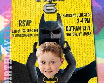 Lego Batman Invitation with Custom Face! Lego Batman Birthday, Lego Batman Party, Lego Batman Movie Invite, Lego Printables Invitations