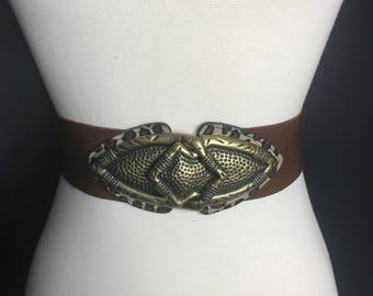 Vintage 80s Brown Leopard Belt Vintage 1980s Belt Gold Buckle Vintage Brown Gold Belt Vintage Cincher Belt Vintage 90s Belt Vintage Cheetah
