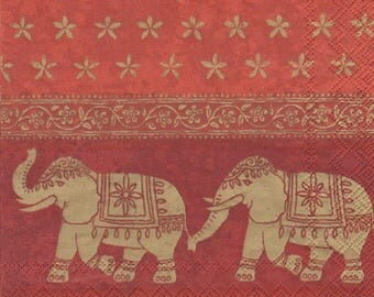 COCK108 parade of ELEPHANTS pattern 4 X 1 paper Cocktail napkin