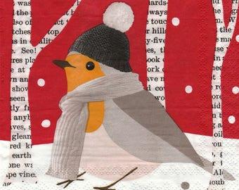 433 bird bundled up X 4 towel pattern paper