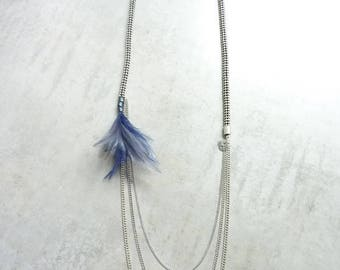 Necklace articulated feathers Boreal blue