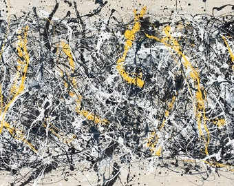 Large Abstract Expressionism Action Painting Oil Enamel Canvas Jackson Pollock Style