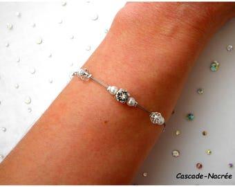 Eolia white swarovski crystal Pearl wedding bridal bracelet