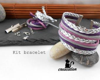 Kit cuff bracelet, suede, braids, purple / silver