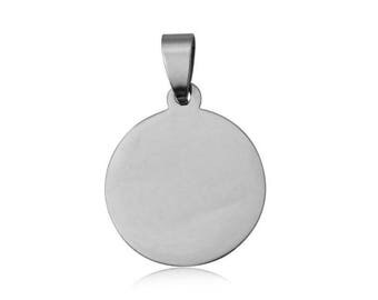 Customize 19 mm engraved medal pendant made of steel