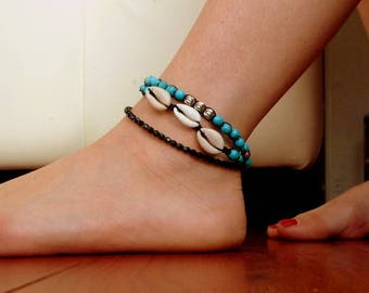 Black summer ankle Bracelet chain silver and Turquoise