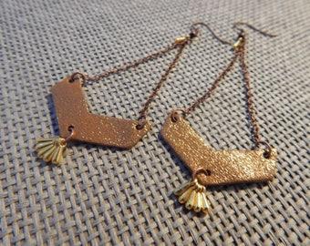 Earrings leather copper gold chevron