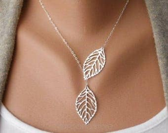 necklace or Choker with these leaves filigree chain adjustable new.