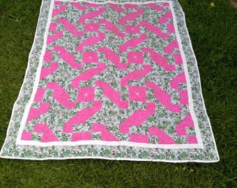 pink and green lap quilt/throw