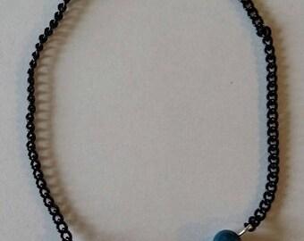"""Black and turquoise EKG"" bracelet 20 cm"