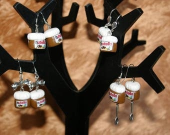 Earrings spread jar hazelnut chocolate Fimo