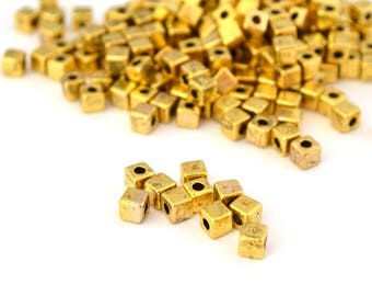 10 antique gold metal 4mm cube beads