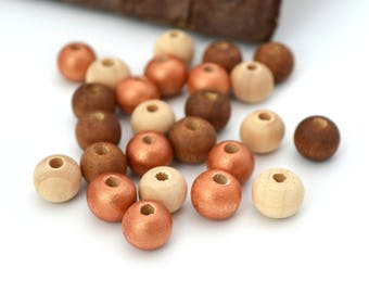 25 round wood beads Brown, copper and raw 8 mm Christmas