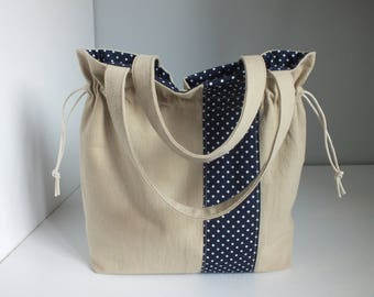 Purse from linen and cotton fabric beige sand and dark blue