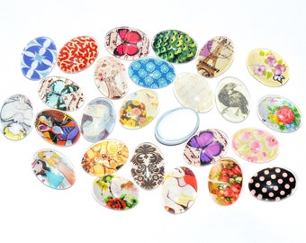 Set of 5 illustrated, glass Cabochons - various designs - (18x13mm) - color Vintage oval - CABVILL15COL052