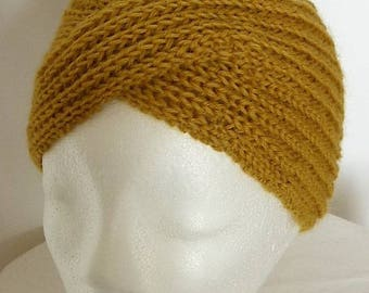 Hat turban retro mustard 100% pure French wool