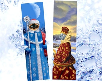 Set of two bookmarks with cat: trip to Russia