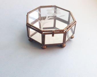 Glass Jewelry Box   Geometric Glass Box   Glass Terrarium   Vintage Jewelry Box   Made in Mexico