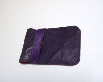 Case for mobile phone, violet leather
