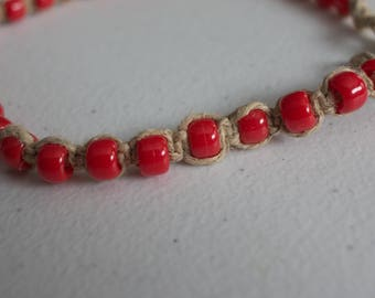 15.5 inch hemp necklace with red pony beads