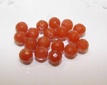 Orange aventurine faceted ball 8.00 mm. Semi precious stone.