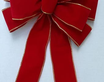 Red Velvet Christmas Bow with Gold Trim