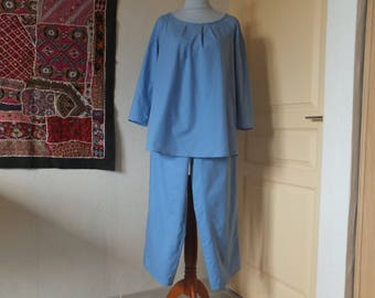 Woman in blue chambray cotton net pajamas