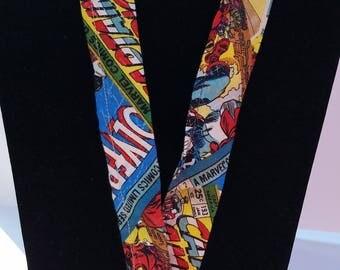 Comic Book Fabric Lanyard with ID Holder