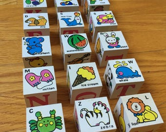 Wood Works alphabet blocks, animals, letters