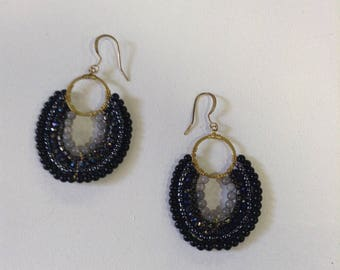Grey and black earrings with semi-precious stones, Christmas gift