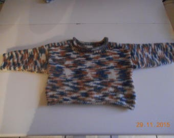 "sweater rolled cuffs, collar ""handmade"" to 20 months old baby."