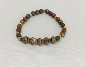 Copper, Gold, Amber, Rust and Green Beaded Bracelet with Sparkle Accent pieces
