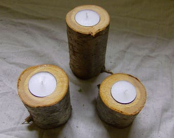 Set of three wood, branch, log tea light candle holders, natural, rustic, handmade