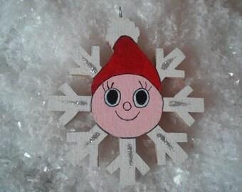 "Wooden Christmas ornament ""Pixie snowflake ice"""