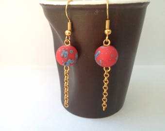 """Dangle earrings """"mottled"""" - blue speckled red"""