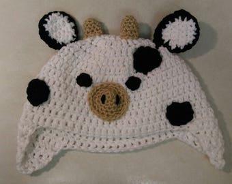 Cute Crochet Cow Earflap Hat for Winter moo
