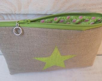 Flat pouch (No. 8) Green & natural linen
