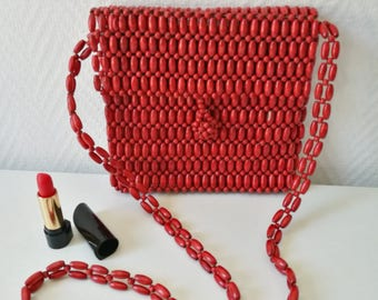 Mini bag / vintage red straw clutch