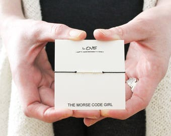 LOVE .|.. ||| ...| . Morse Code Bracelet - Sterling Silver or 14K Gold Secret Message - Gift for Bestie on Galentines Day