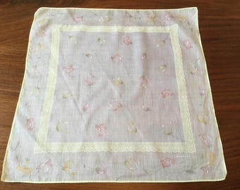 Vintage Women's Handkerchief White with Pale Yellow and Pink Flowers