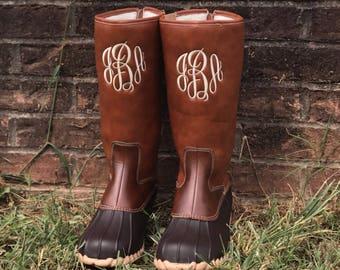 Monogram Duck Boots, Mid Calf Boots, Rain Boots, Monogram Shoes, Personalized Boots, Custom Shoes, Women's Boots, Ladies Shoes, navy blue