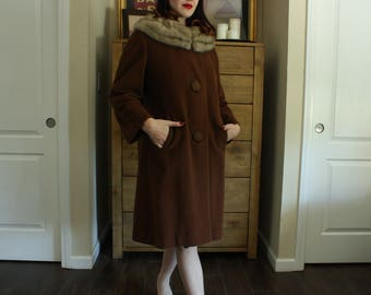 1960's Chocolate Brown Winter Coat with Fur Collar