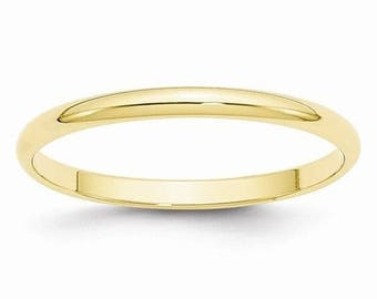 New 14K Solid Yellow Gold 2mm Men's and Women's Wedding Band Ring Sizes 4-14. Solid 14k Yellow Gold, Made in the U.S.A.