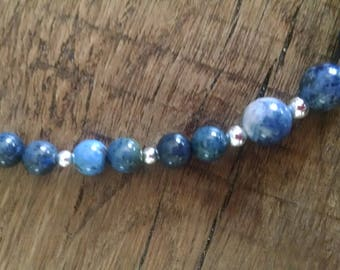 "18"" Lapis and Sodalite Sterling Silver Necklace"