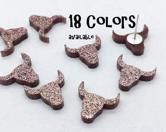 Longhorn Laser cut glitter Acrylic cabochons- 8pcs (You Pick Color)